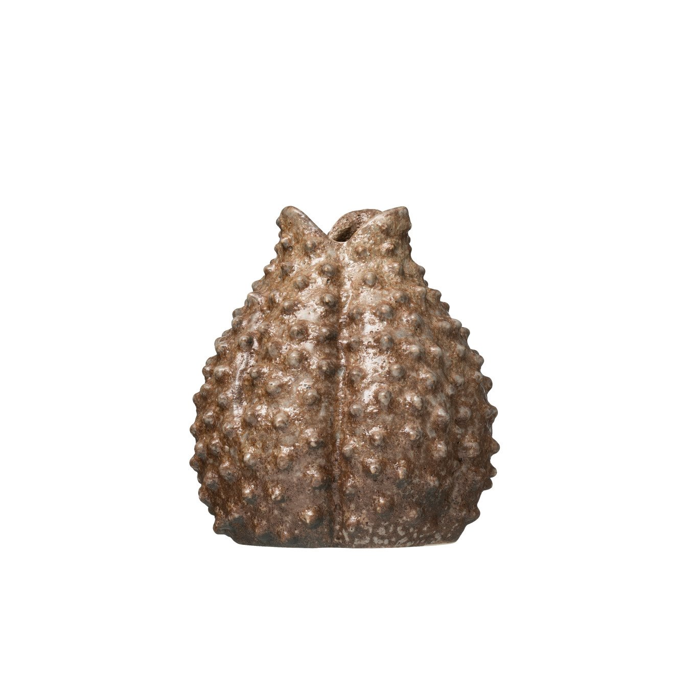 """7.5""""H Blow Puff-Shaped Stoneware Vase with Reactive Glaze Finish (Each one will vary)"""