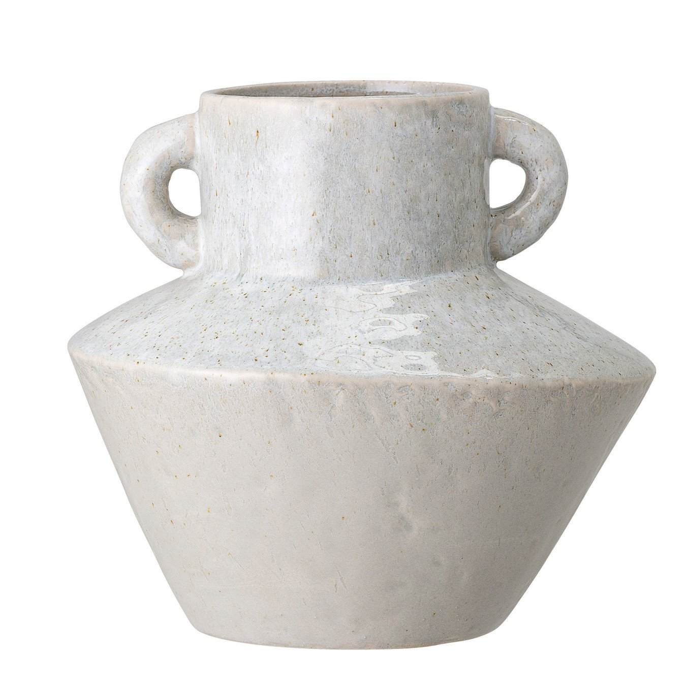 """8.25""""H Stoneware Vase with Reactive Glaze Finish & Vertical Handles (Each one will vary)"""