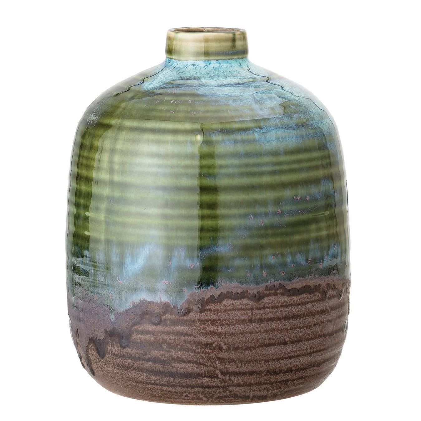 Green Stoneware Vase with Blue and Brown Accents & Reactive Glaze Finish (Each one will vary)