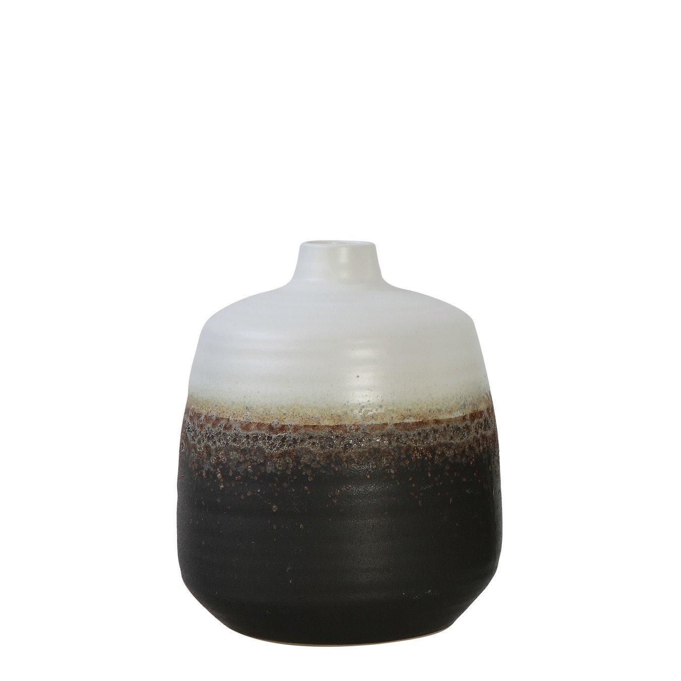 Black & White Ceramic Vase with Brown Reactive Glaze Accent