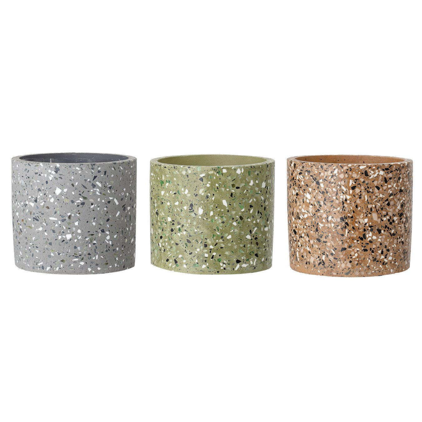 Round Speckled Cement Flower Pot (Set of 3 Colors)