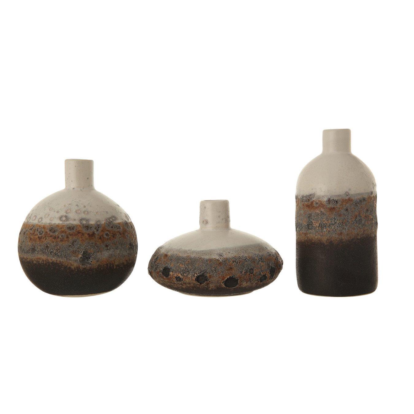 Textured Brown & White Stoneware Vase with Ombre Reactive Glaze Finish (Set of 3 Sizes)