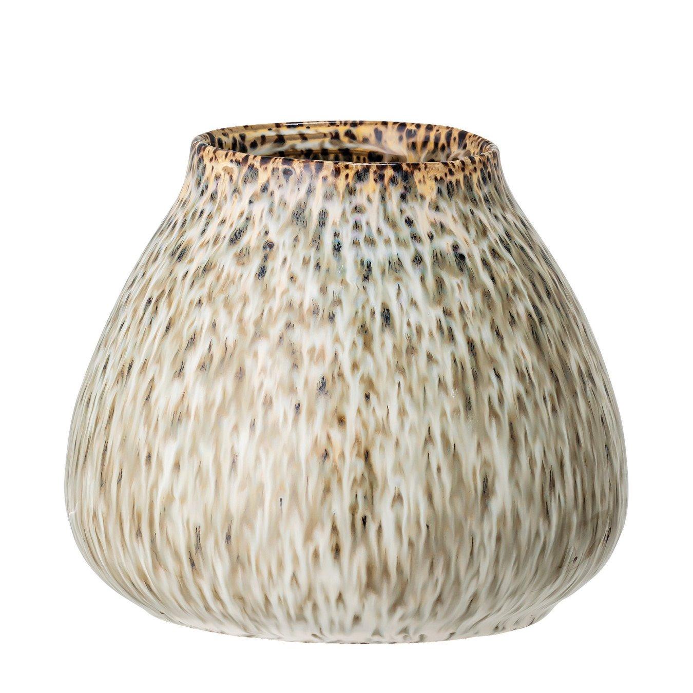 Green Speckled Reactive Glaze Stoneware Vase