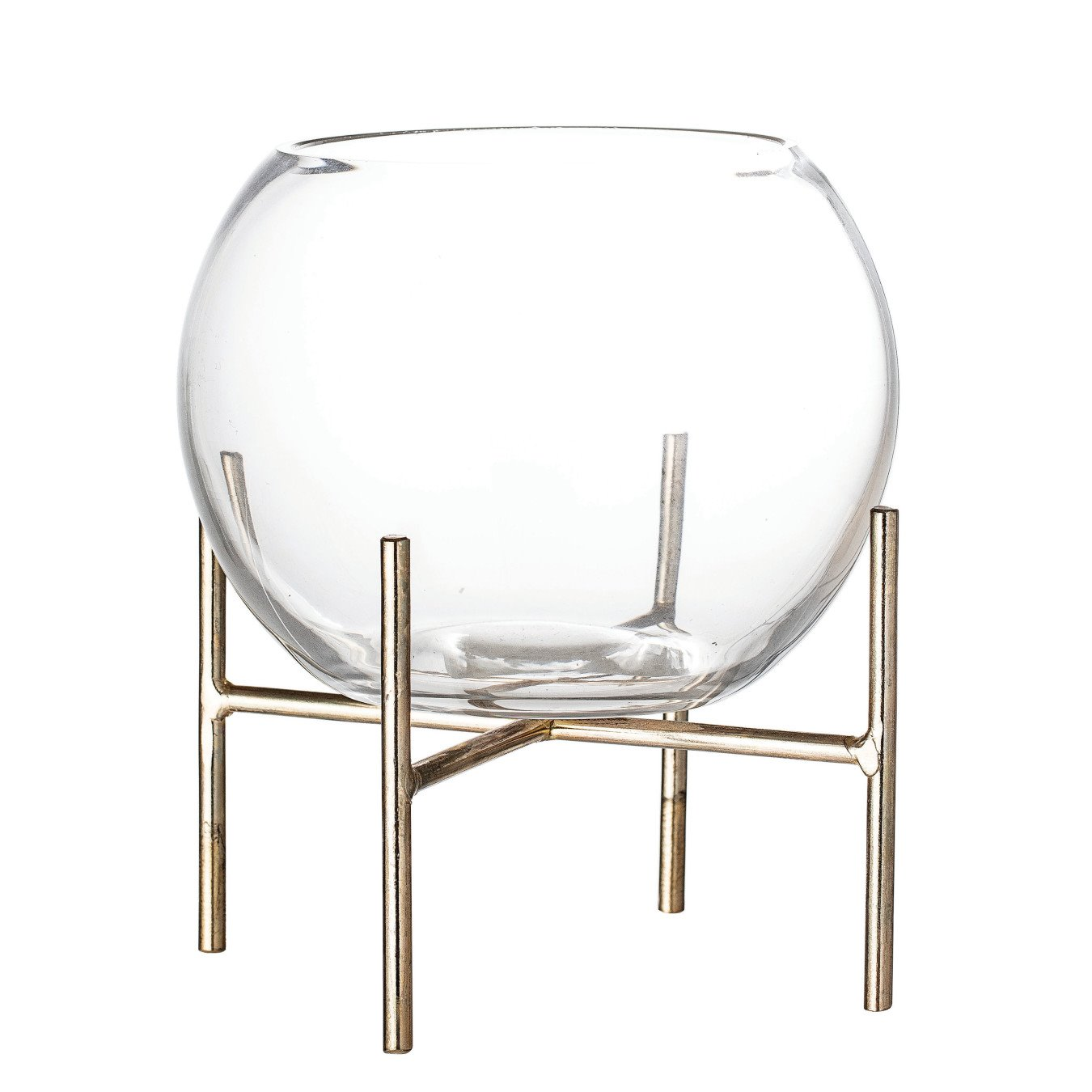 Clear Glass Ball Shaped Vase on Gold Metal Holder (Set of 2 Pieces)