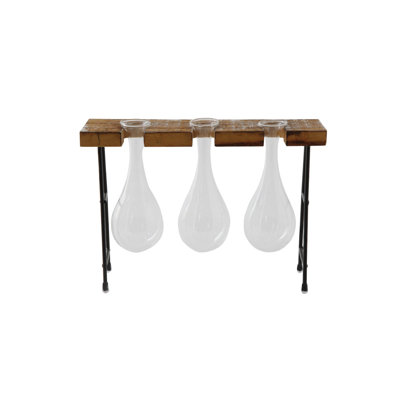 Glass Vases with Wood & Metal Stand (Set of 4 Pieces)