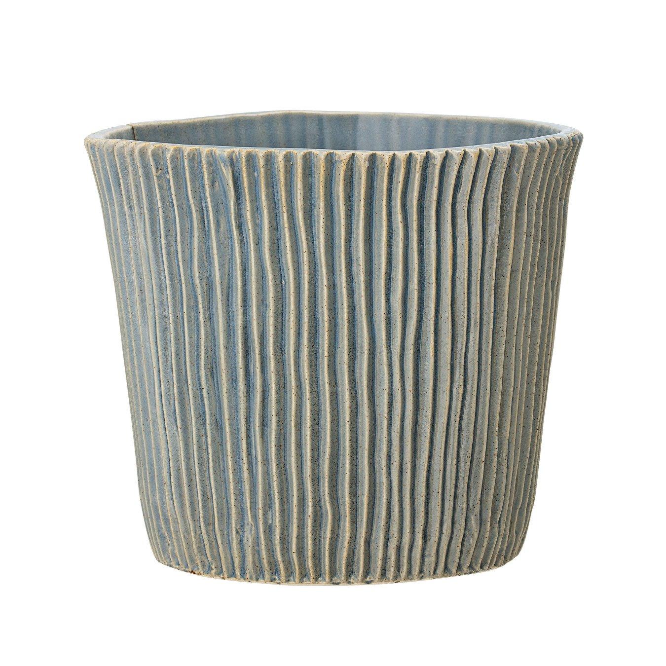 Large Fluted Blue Stoneware Flower Pot