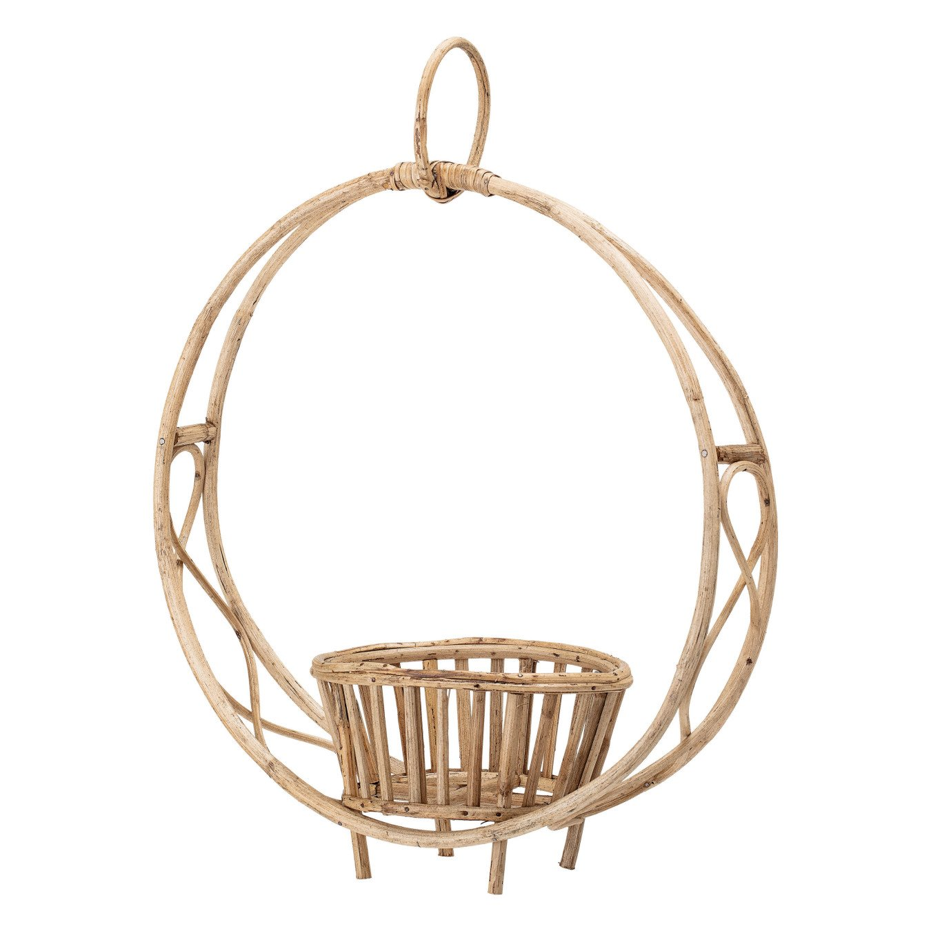 Beige Rattan Hanging or Sitting Plant Stand