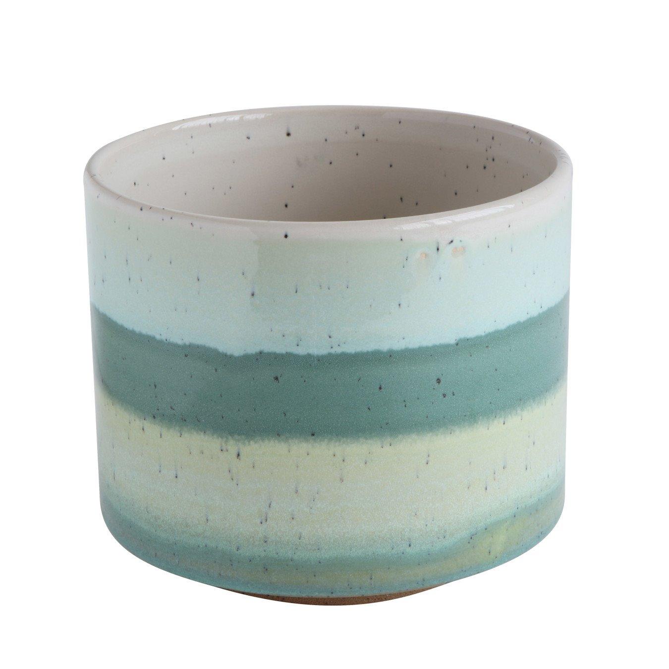 Green Striped Round Stoneware Flower Pot