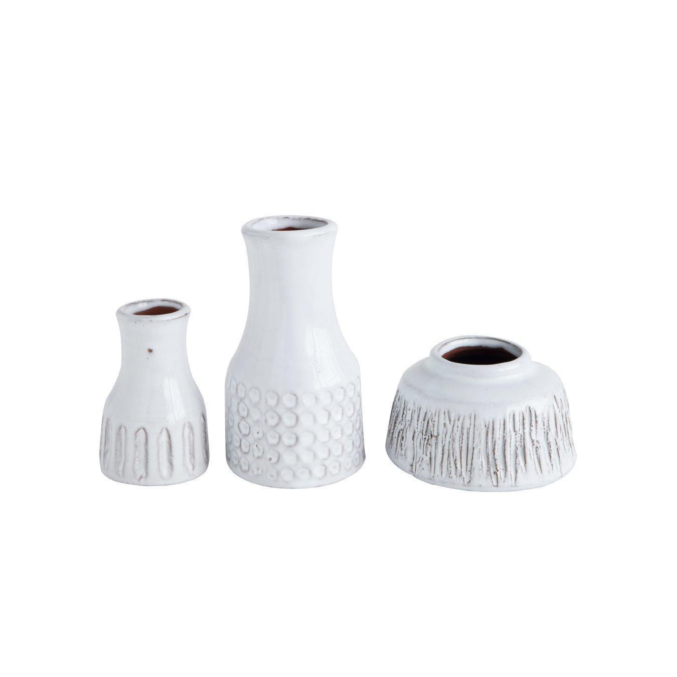 Distressed White Terracotta Vases (Set of 3 Styles)