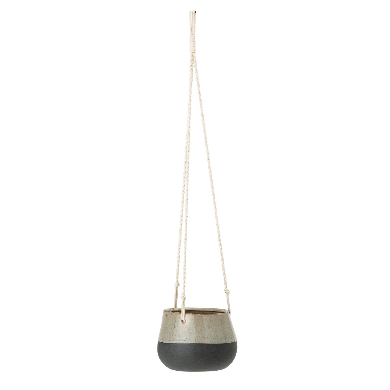 Brown & Blue Hanging Stoneware Planter with Matte Black Bottom & White Cotton Rope