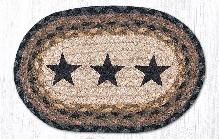 "Black Star Printed Oval Braided Swatch 7.5""x11"""