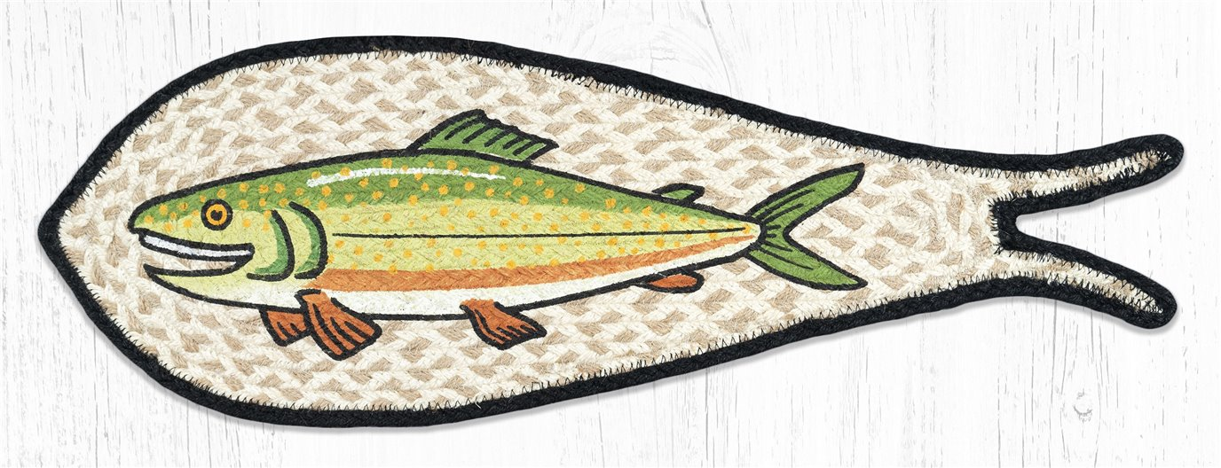 """Trout Printed Braided Fish Shaped Rug 9""""x26"""""""