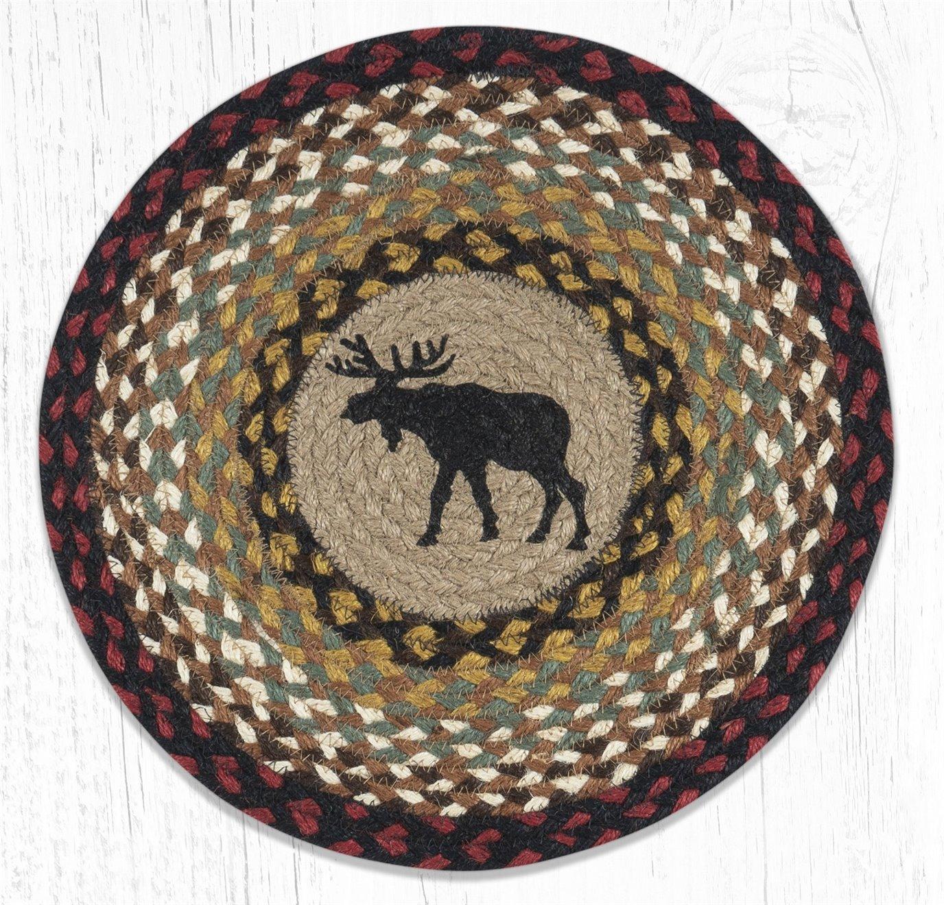 "Black Moose Printed Round Braided Placemat 15""x15"""