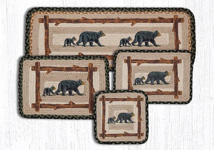 "Mama & Baby Bear Rectangular Printed Braided Placemat 13""x19"""