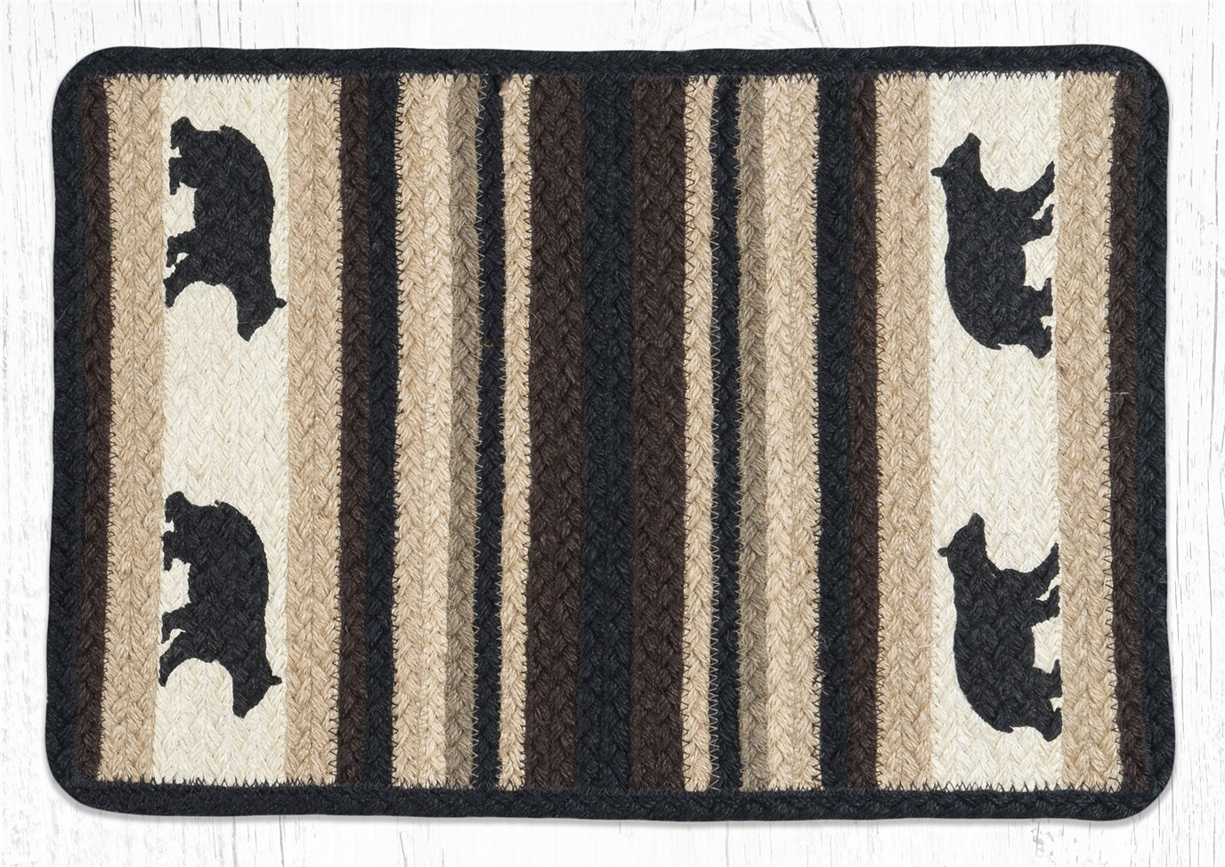 "Cabin Bear Rectangular Printed Braided Placemat 13""x19"""
