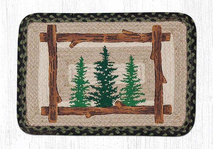 """Tall Timbers Rectangular Printed Braided Placemat 13""""x19"""""""