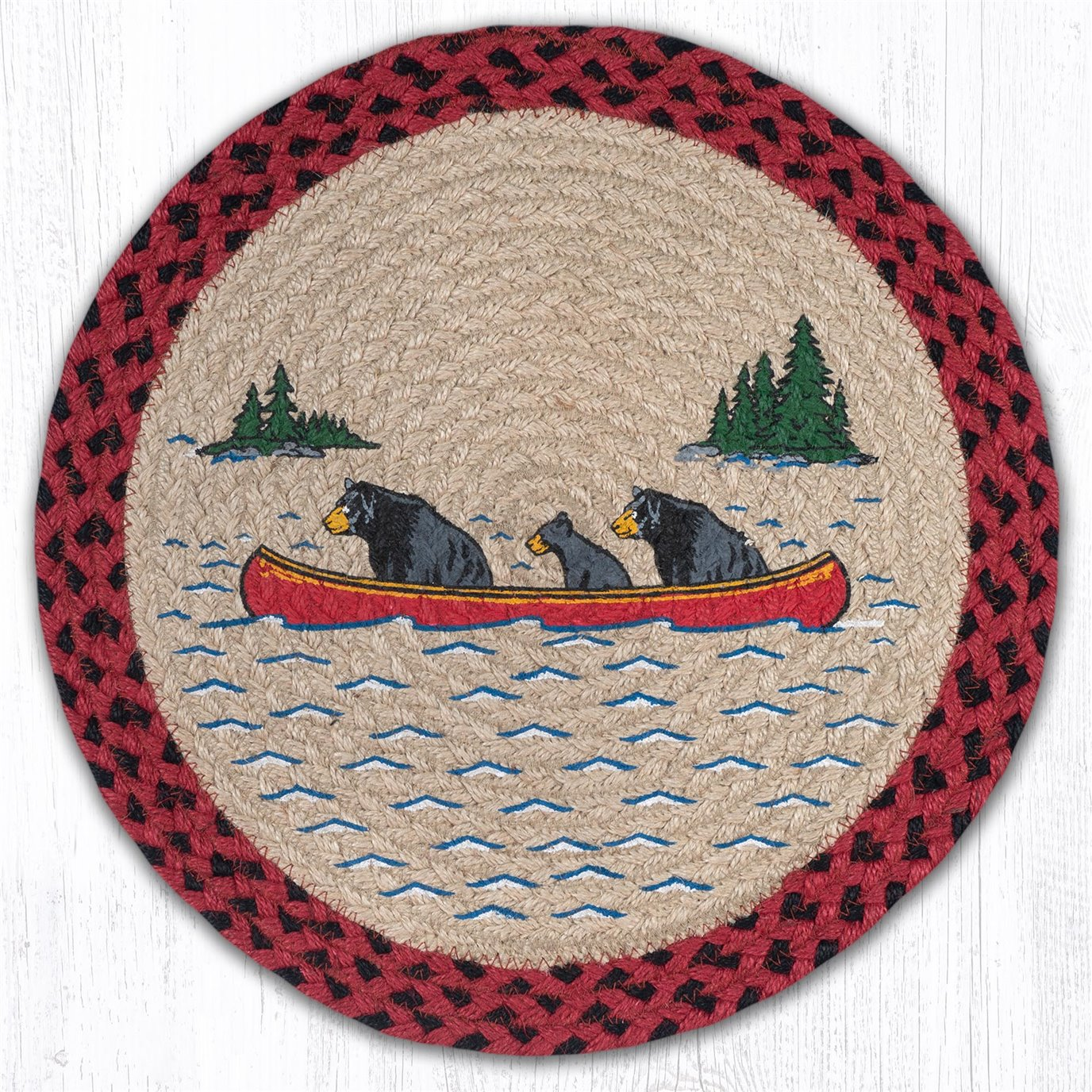 """Bears in Canoe Printed Round Braided Placemat 15""""x15"""""""