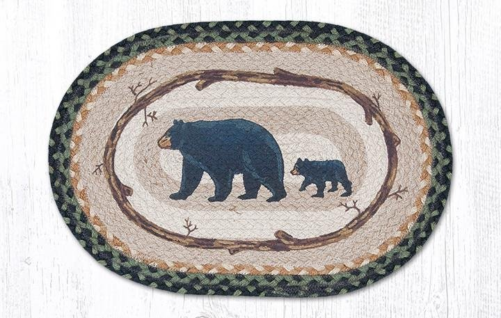 """Mama & Baby Bear Oval Braided Placemat 13""""x19"""""""