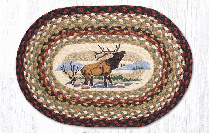 """Winter Elk Oval Braided Placemat 13""""x19"""""""
