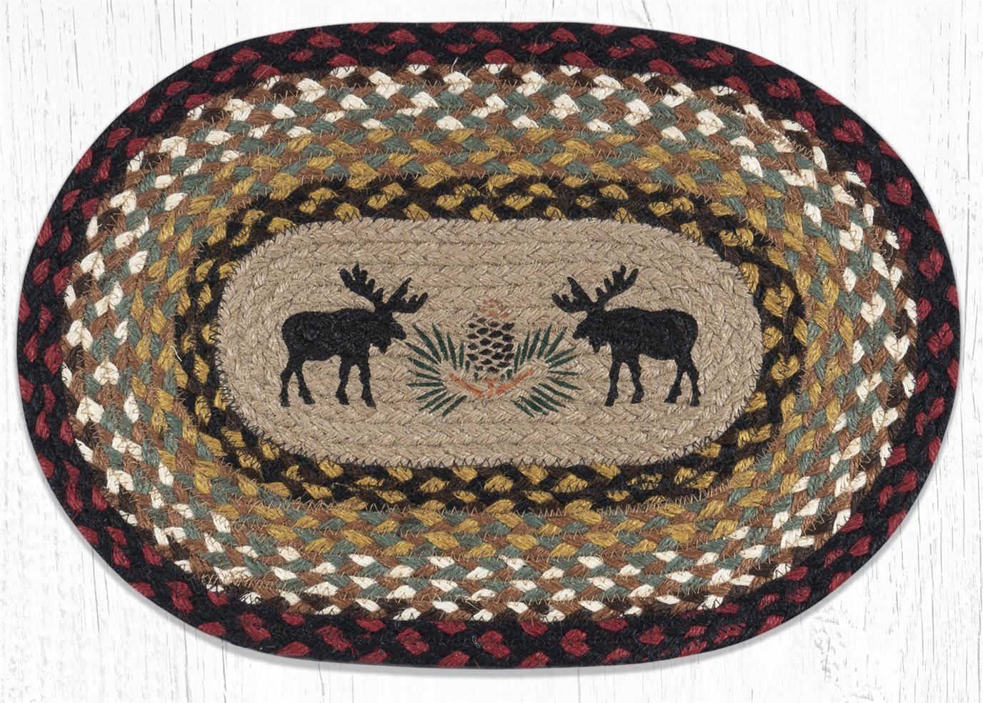 """Black Moose Oval Braided Placemat 13""""x19"""""""