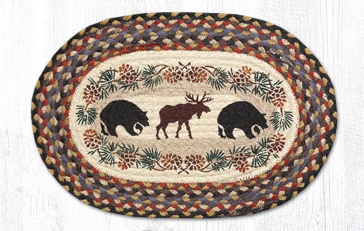 """Bear/Moose Oval Braided Placemat 13""""x19"""""""