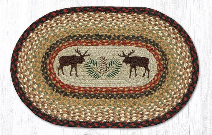 """Moose/Pinecone Oval Braided Placemat 13""""x19"""""""
