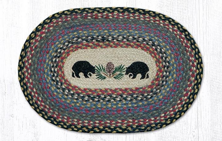 """Black Bears Oval Braided Placemat 13""""x19"""""""