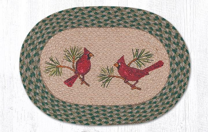 """Cardinals Oval Braided Placemat 13""""x19"""""""