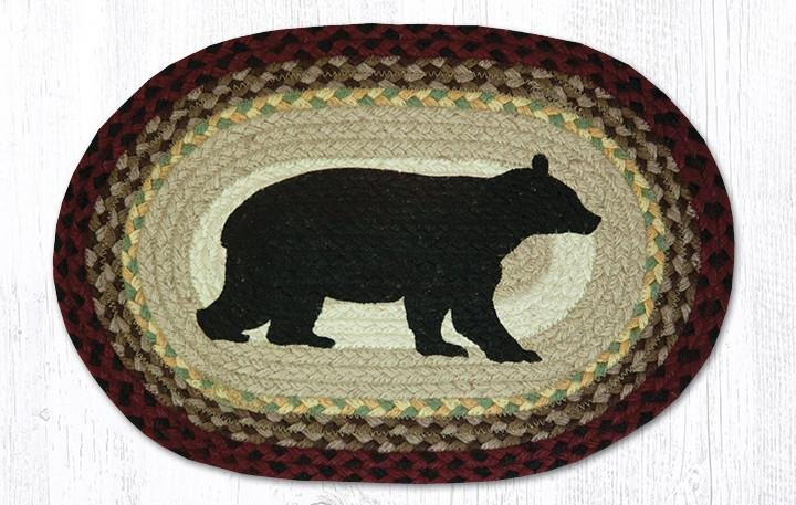 """Cabin Bear Oval Braided Placemat 13""""x19"""""""