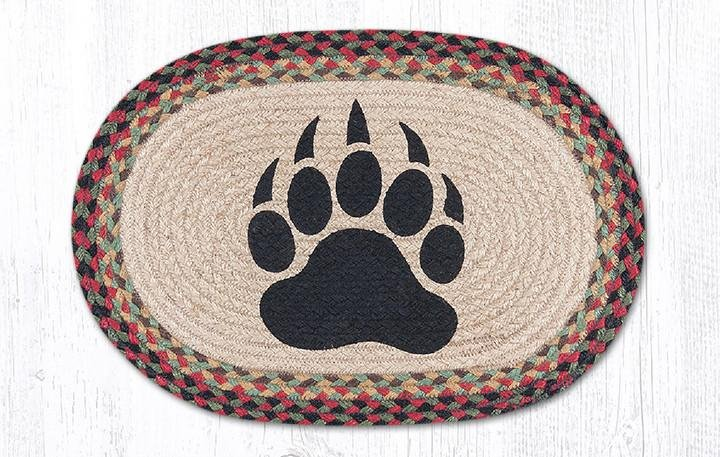 """Bear Paw Oval Braided Placemat 13""""x19"""""""