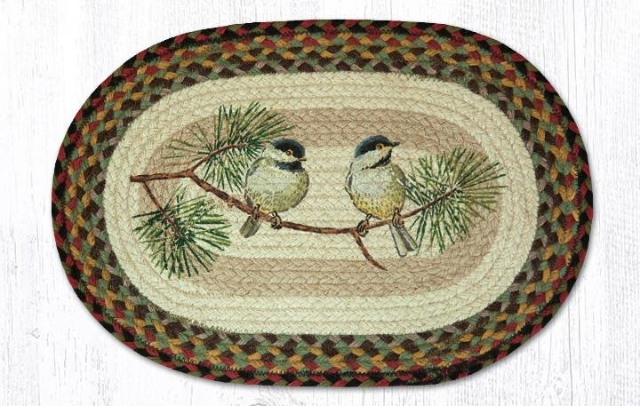 """Chickadee Oval Braided Placemat 13""""x19"""""""