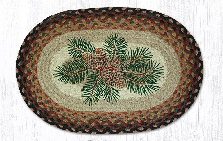 """Pinecone Red Berry Oval Braided Placemat 13""""x19"""""""
