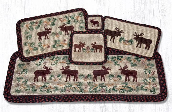 """Moose/Pinecone Wicker Weave Braided Placemat 13""""x19"""""""