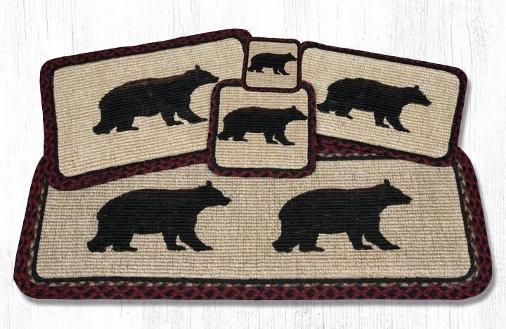 "Cabin Bear Wicker Weave Braided Placemat 13""x19"""