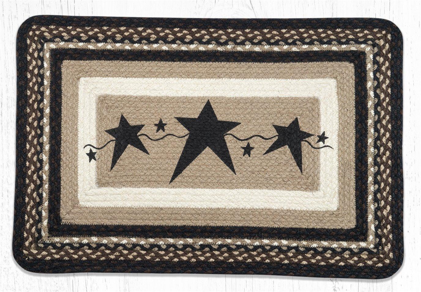 "Primitive Stars Black Rectangular Braided Rug 20""x30"""
