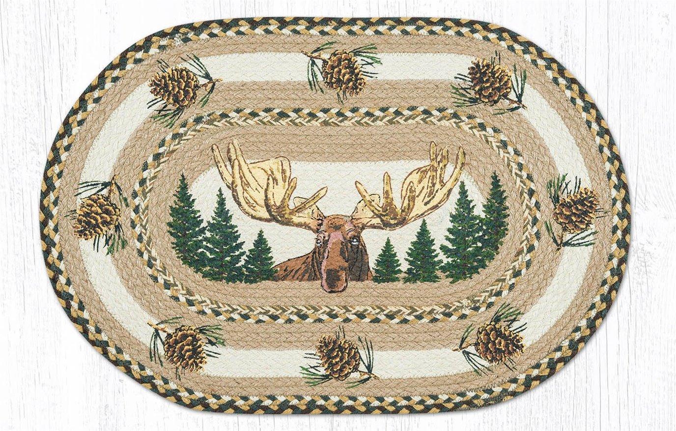 "Bull Moose Oval Braided Rug 20""x30"""