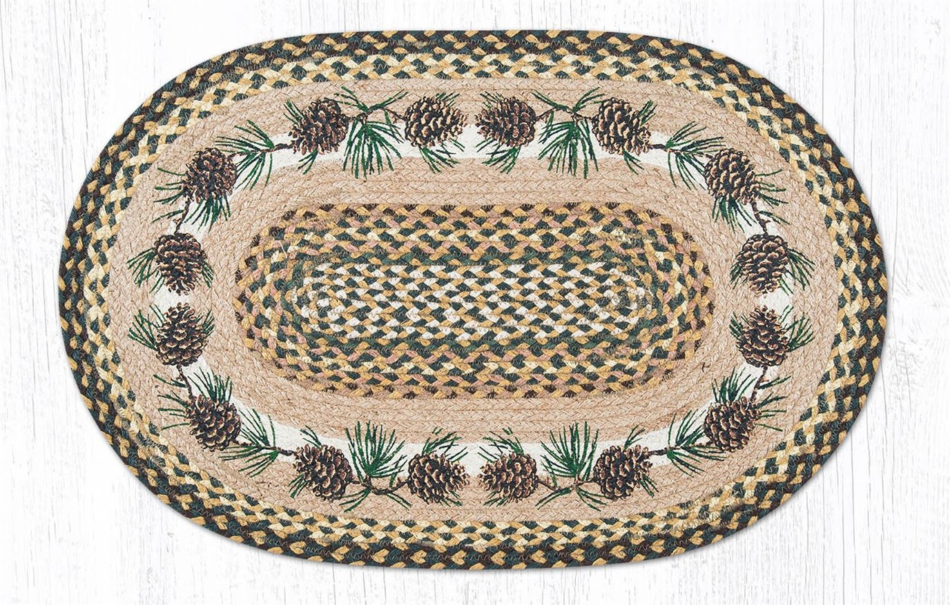 """Needles & Cones Oval Braided Rug 20""""x30"""""""