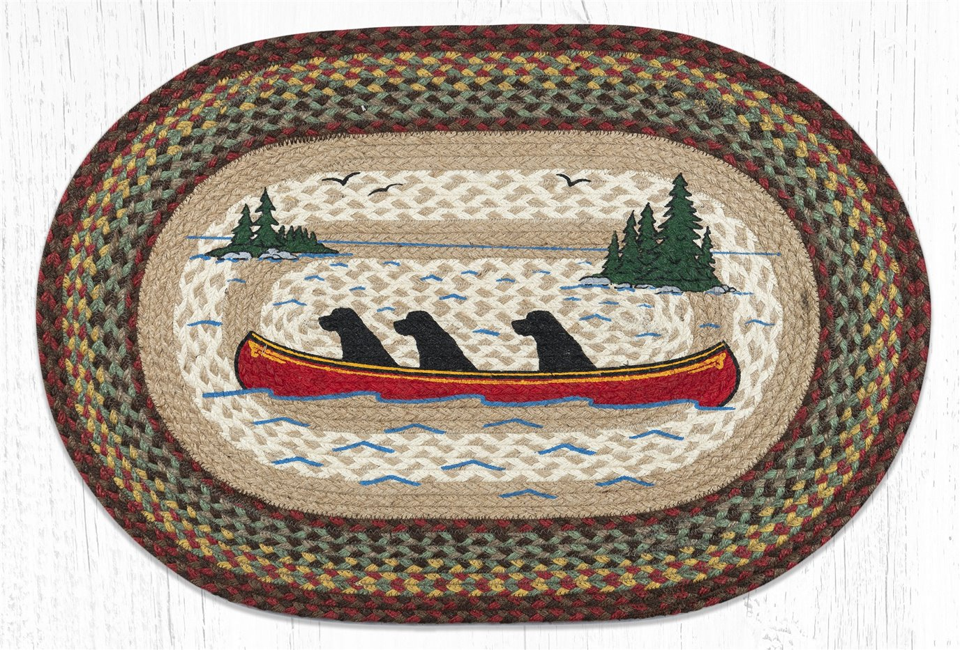 """Labs in Canoe Oval Braided Rug 20""""x30"""""""