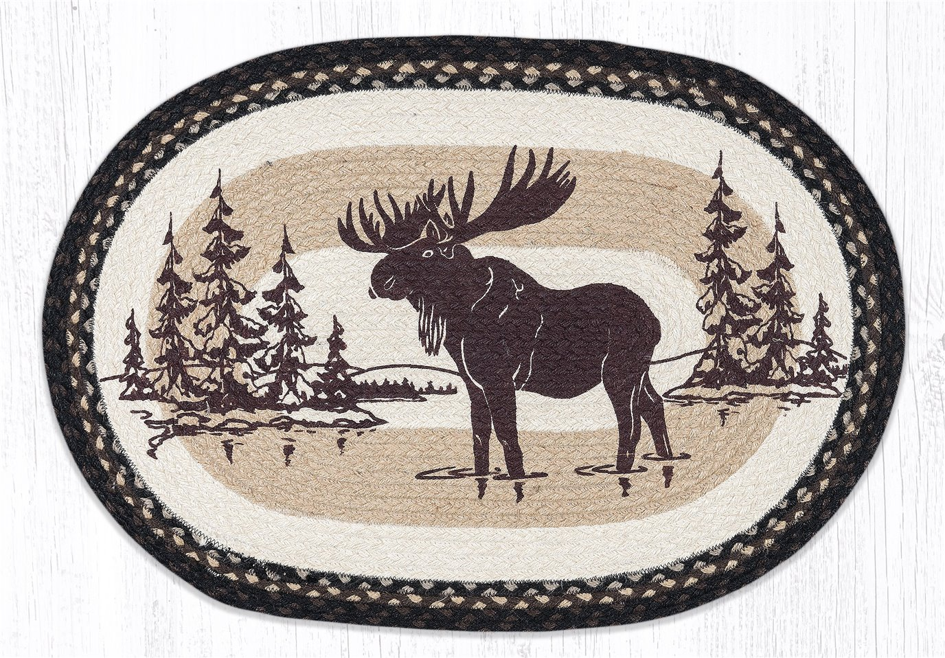 """Moose Silhouette Oval Braided Rug 20""""x30"""""""