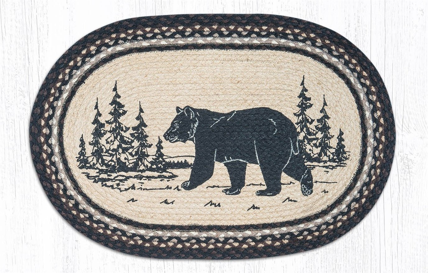 "Bear Silhouette Oval Braided Rug 20""x30"""