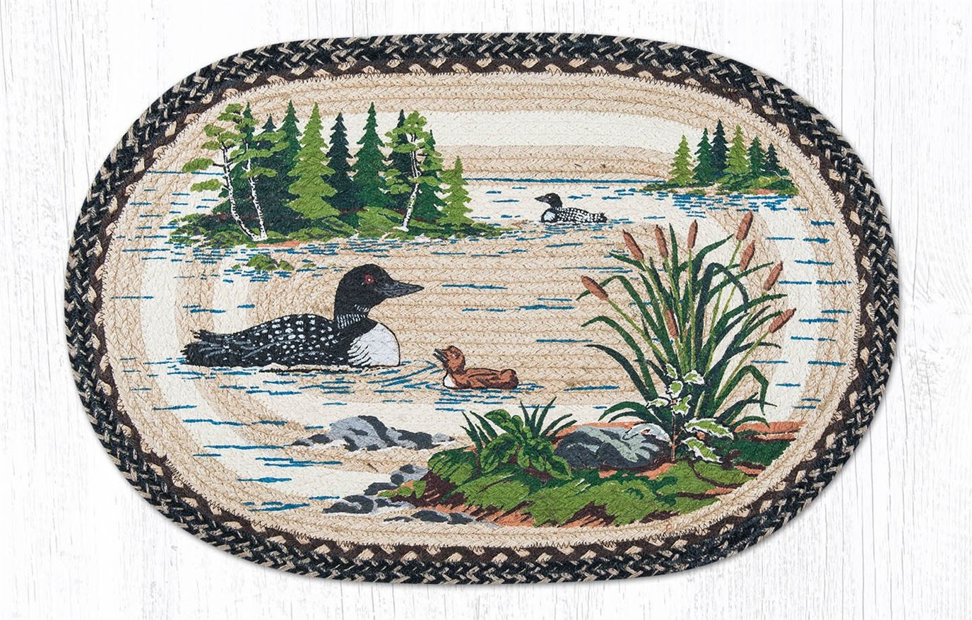 """Loons Oval Braided Rug 20""""x30"""""""