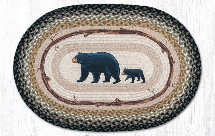 "Mama & Baby Bear Oval Braided Rug 20""x30"""