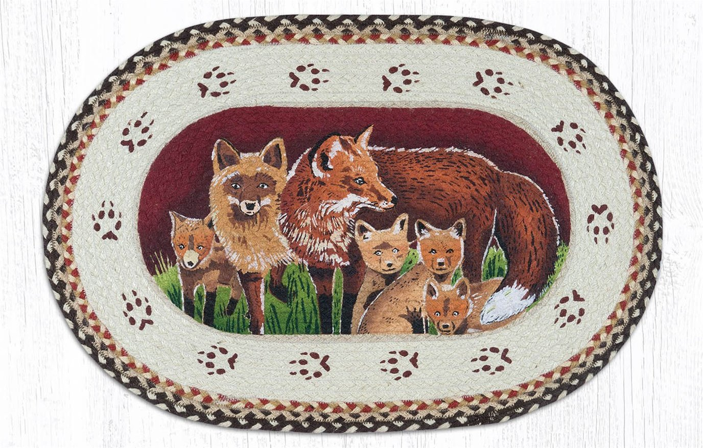 """Fox Family Oval Braided Rug 20""""x30"""""""
