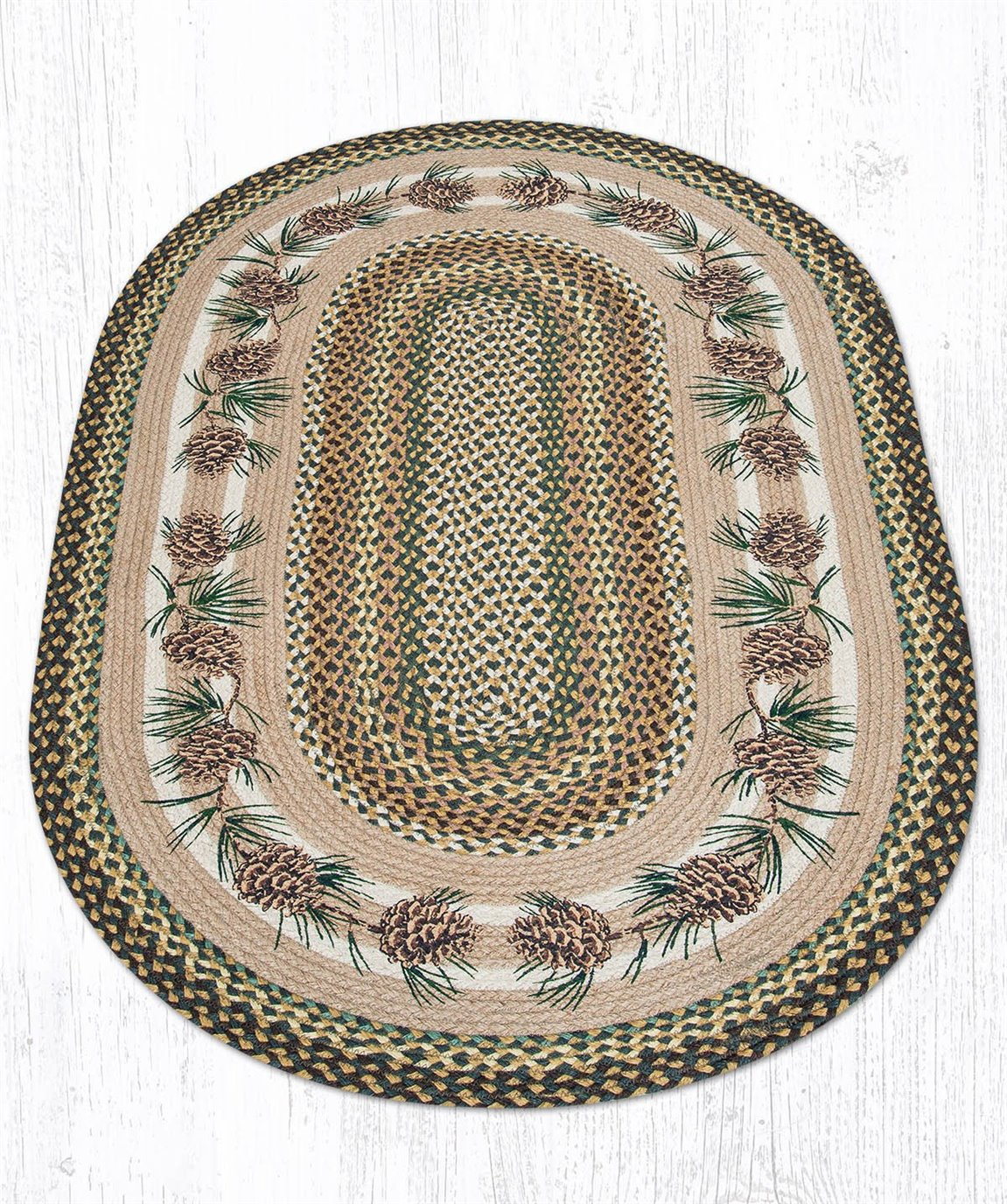 Needles & Cones Oval Braided Rug 3'x5'