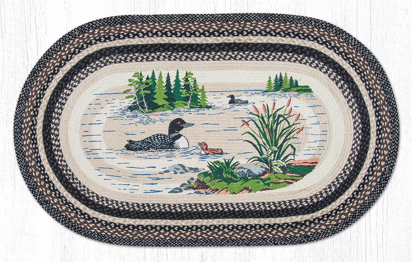 Loons Oval Braided Rug 3'x5'