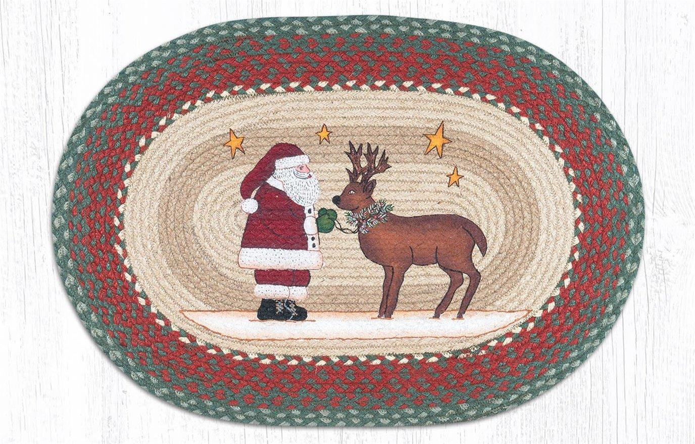 """Santa Reindeer Oval Braided Rug 20""""x30"""""""