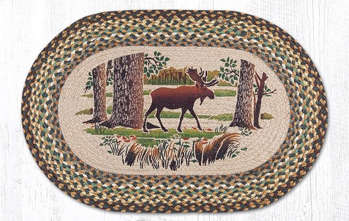 """Moose Forest Oval Braided Rug 20""""x30"""""""