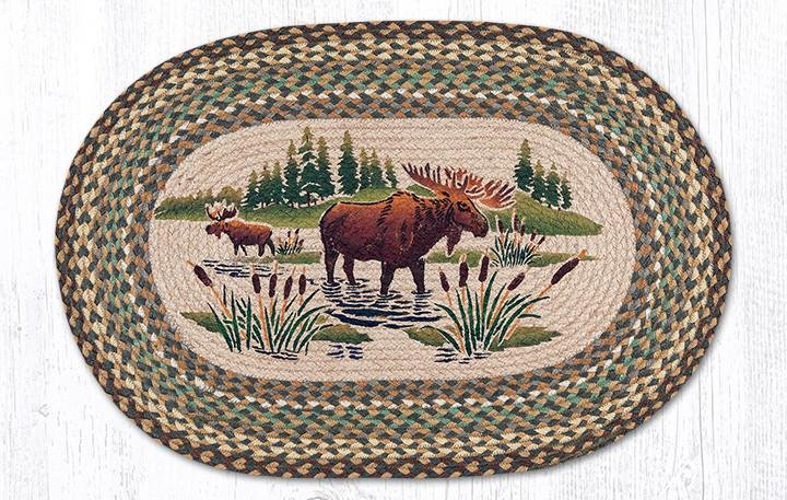 """Moose Wading Oval Braided Rug 20""""x30"""""""