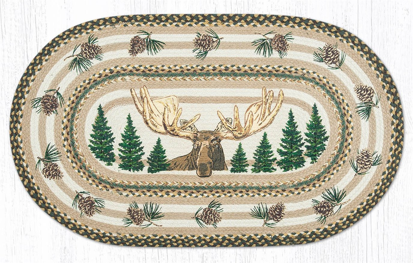 "Bull Moose Oval Braided Rug 27""x45"""