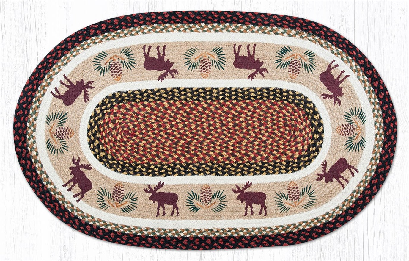"""Moose/Pinecone Oval Braided Rug 27""""x45"""""""